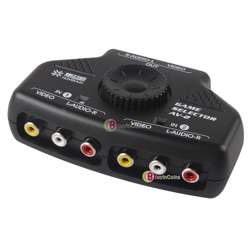 2 Way Audio Video AV RCA Switch Selector Box Splitter w/3 RCA Cable for XBox PS2 фото
