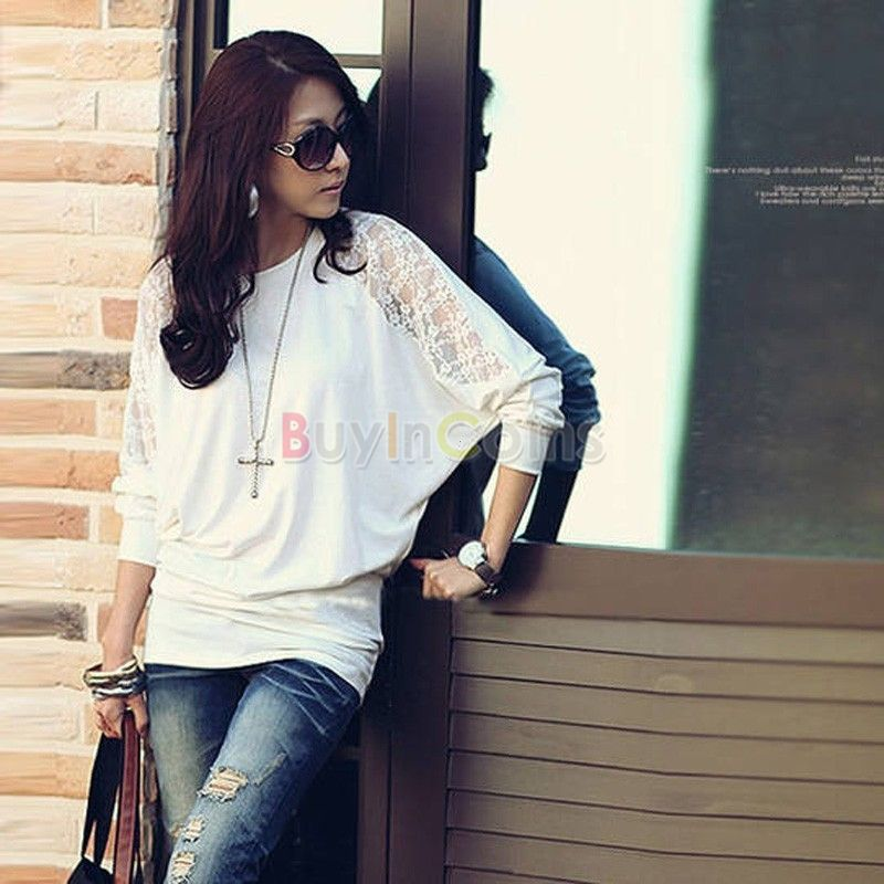 Hot Women's Batwing Top Lace Loose Blouse T-Shirt Top Long Sleeve White фото