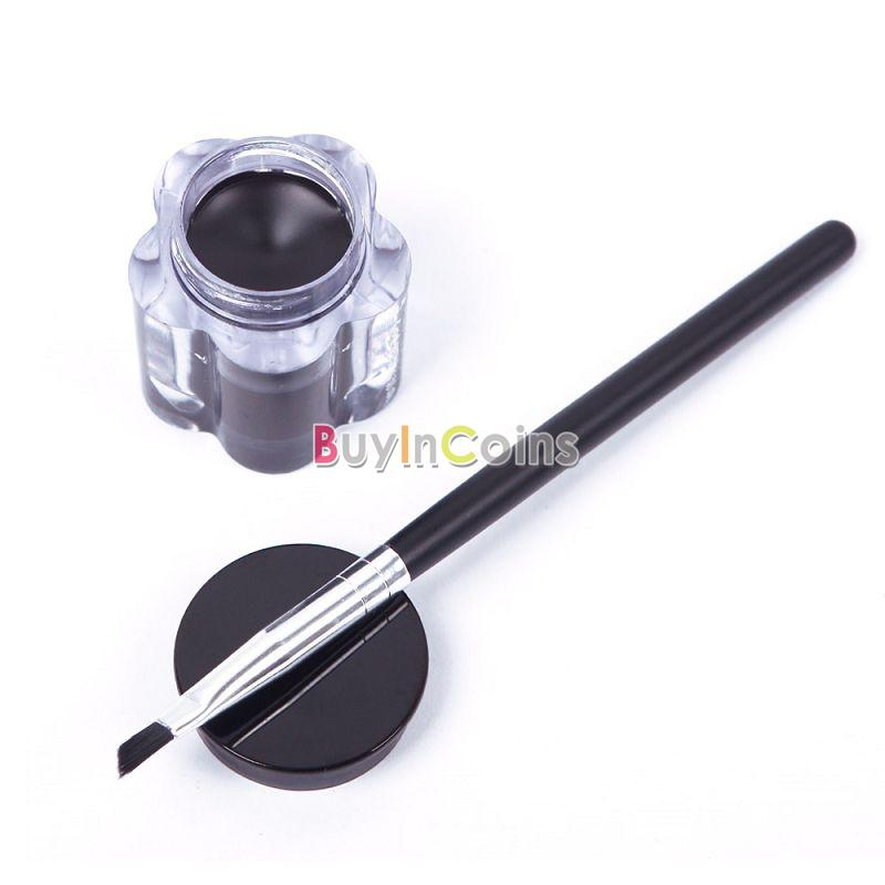 Pro Black Strong Waterproof Woman Eye Liner Eyeliner Gel Makeup Cream Cosmetic + Brush фото