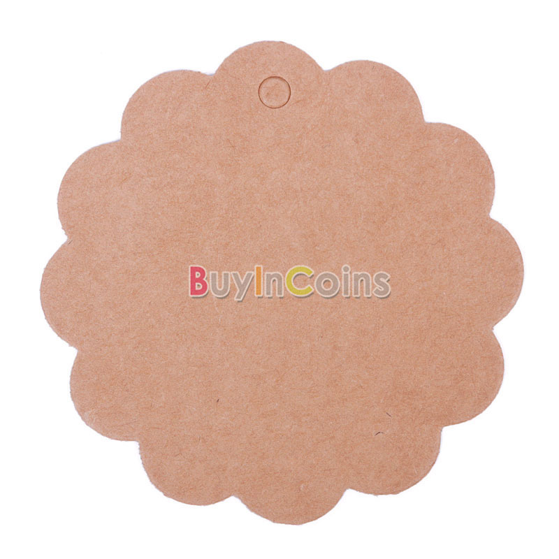 50Pcs Flower Round Kraft Paper Hang Tags Wedding Party Favor Label Gift Cards фото