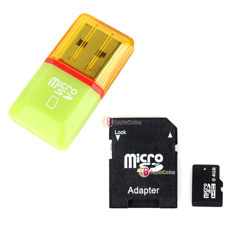 4GB 4 G Class 4 Micro SD TF Memory Card With SD Card Adapter + Mini Card Reader фото