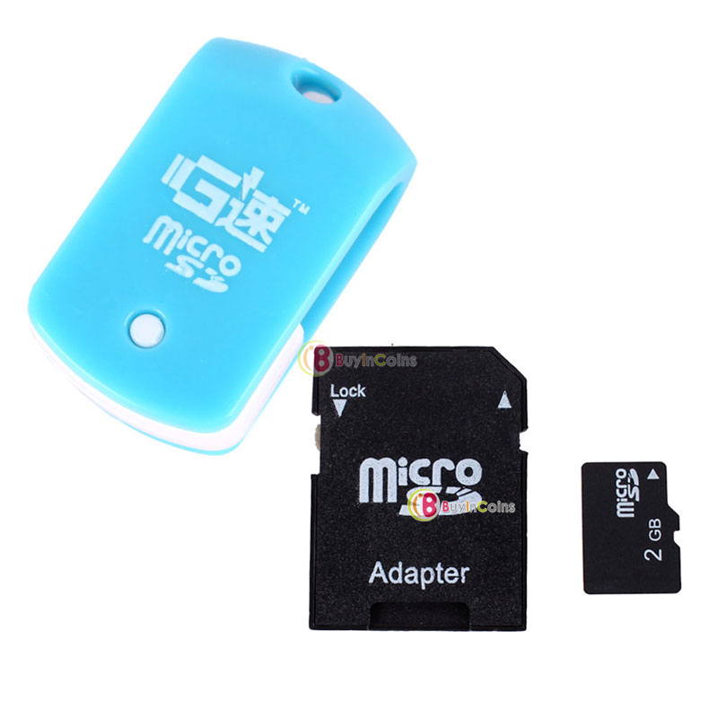 2GB 2 G Micro SD TF Memory Card with SD Card Adapter + Mini Rotary Card Reader