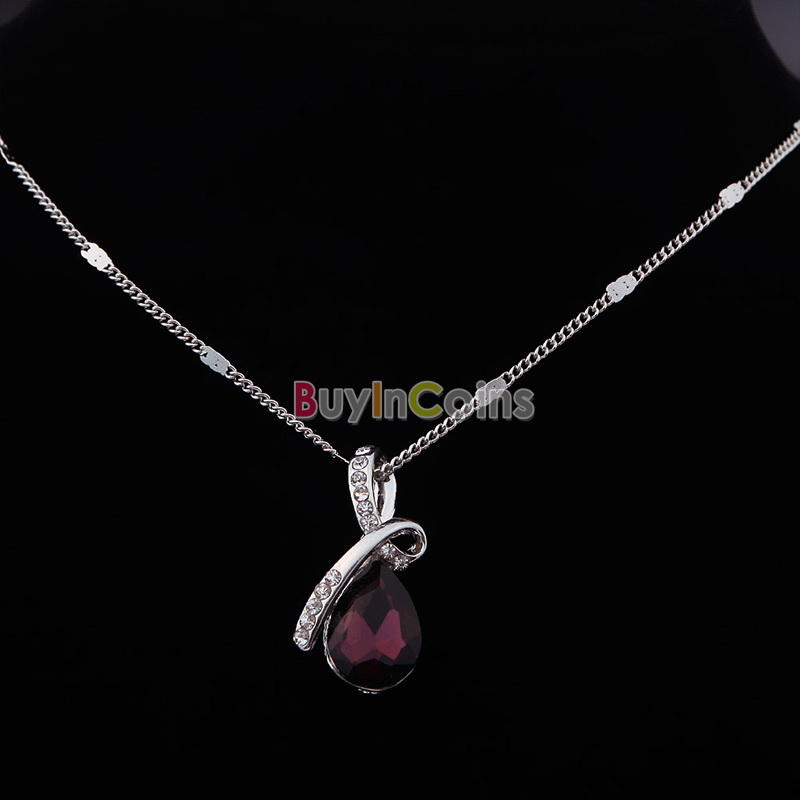 New Angel's Tear Pendant Colors Women's Girl's Crystal White Chain Necklace New