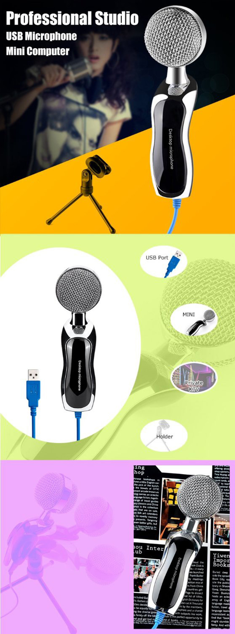 USB Professional Condenser Microphone Mic Studio Audio Sound Recording + Stand фото