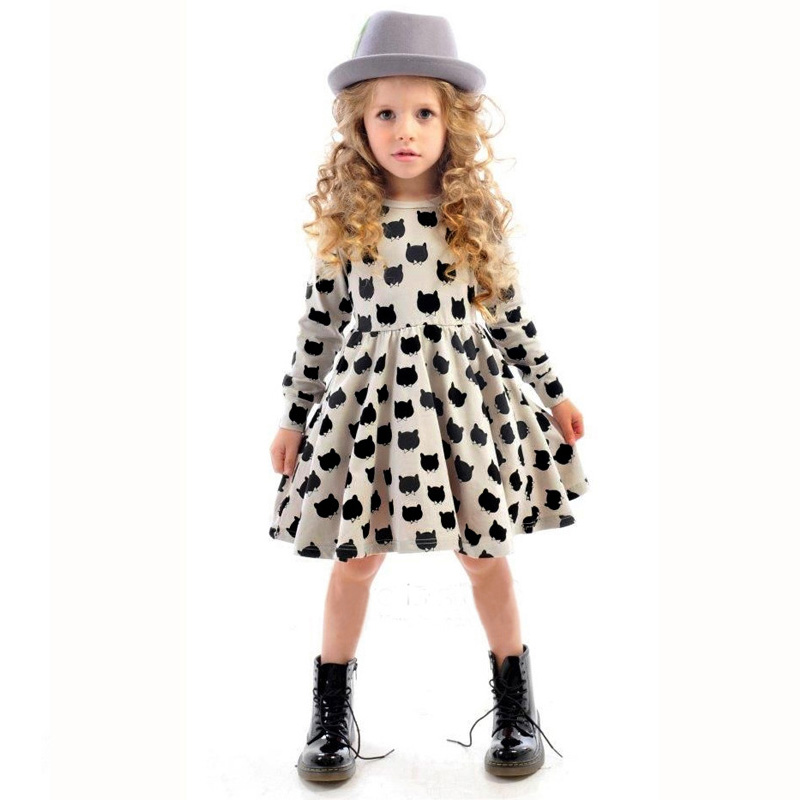 Toddler Baby Girls Kids Autumn Long Sleeve Party Cat Print Princess Tutu Dress фото