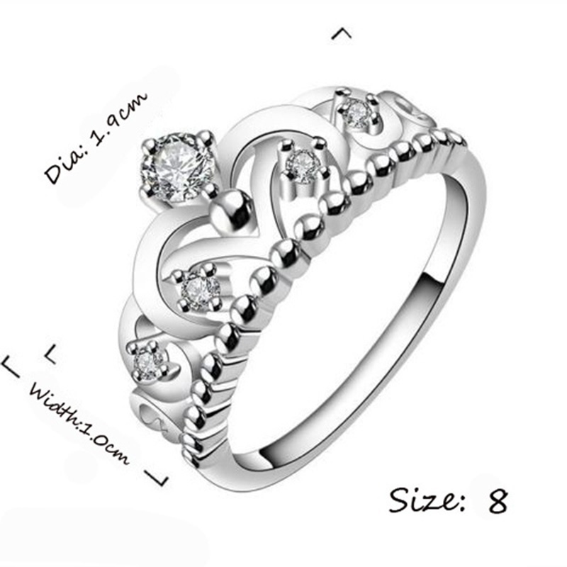 Fashion 925 Sterling Sliver Lady Crown Wedding Crystal Diamond Ring Jewelry фото