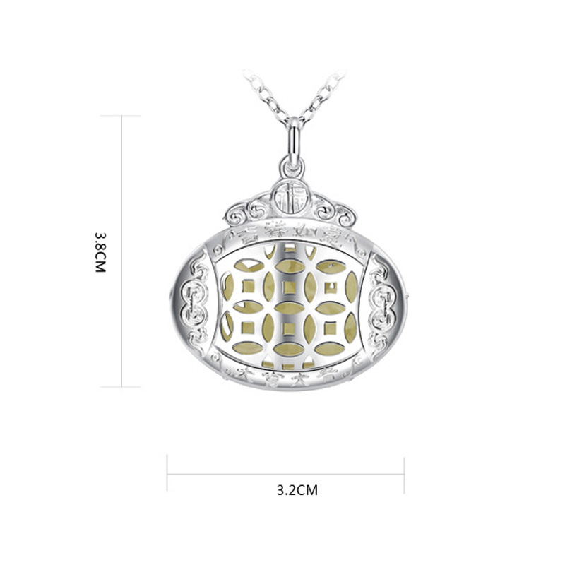 Fashion Silver Hollow Glow In The Dark Pendant Chain Luminous Necklace Jewelry фото