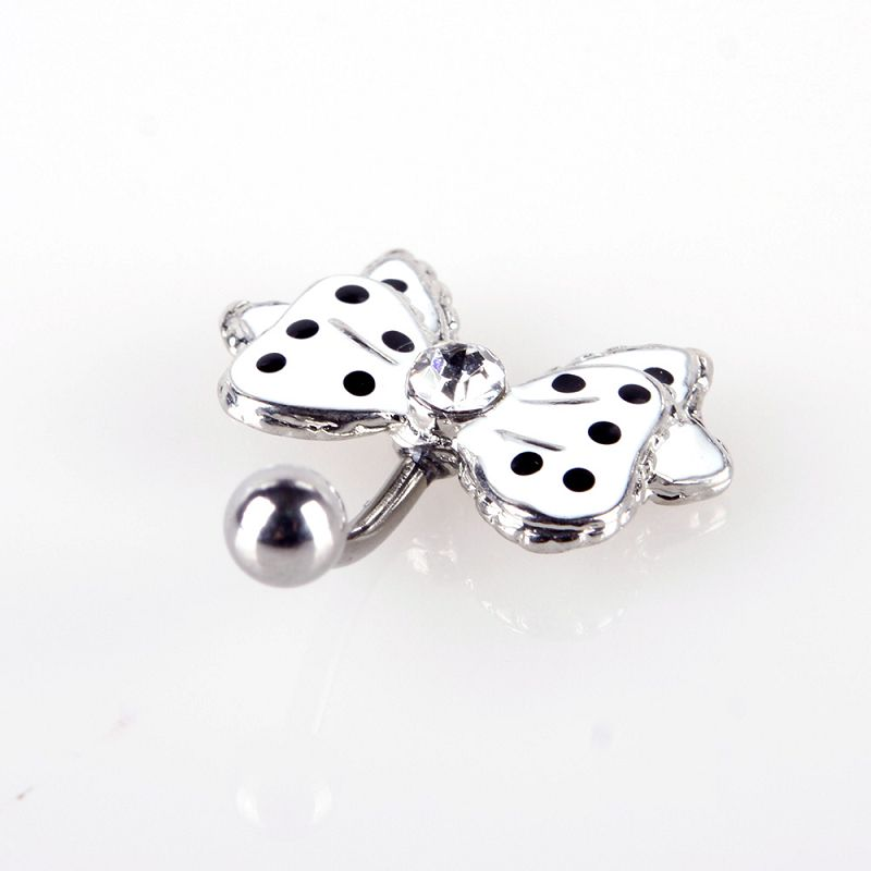 Black Dot White Bowknot Crystal Navel Belly Button Barbell Ring Body Piercing фото