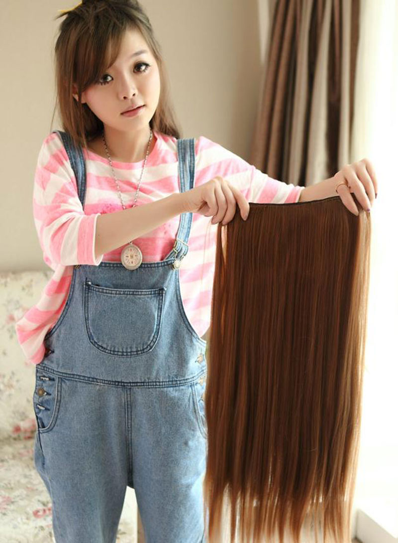 Women Long Straight Hair One Piece Clips in Hair Extensions Full Head Top фото