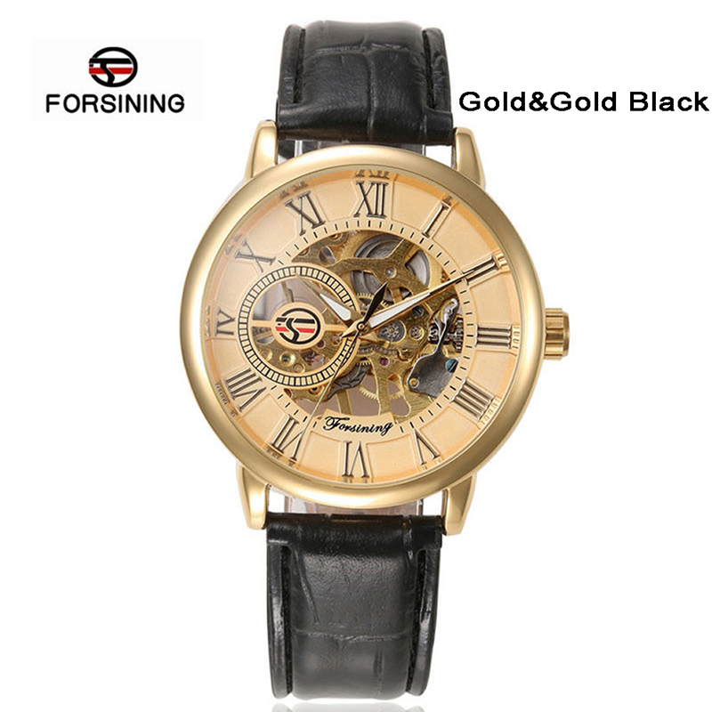 Forsining Luxury Mens Steampunk Gold/Silver Dial Skeleton Watch Stainless Steel Automatic Mechanical Wrist Watch фото