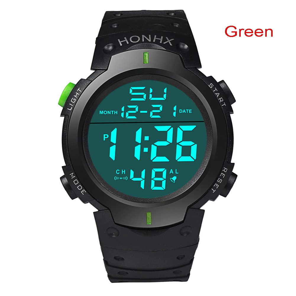 Men's Waterproof Silicone LED Digital Watch Stopwatch Date Rubber Sport Military Wrist Watches фото