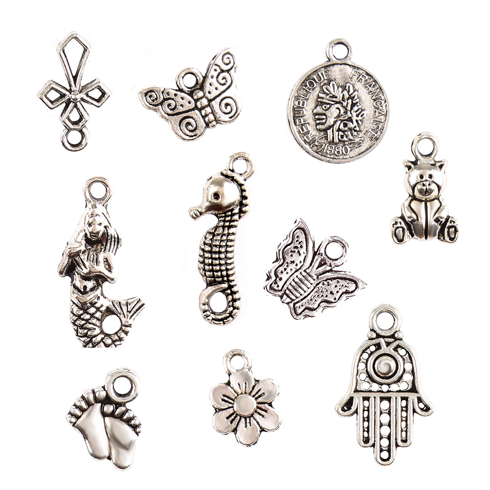 100 Pcs/Set Lots Tibetan Silver Mixed Styles Charm Pendants DIY Jewelry for Necklace Bracelet фото