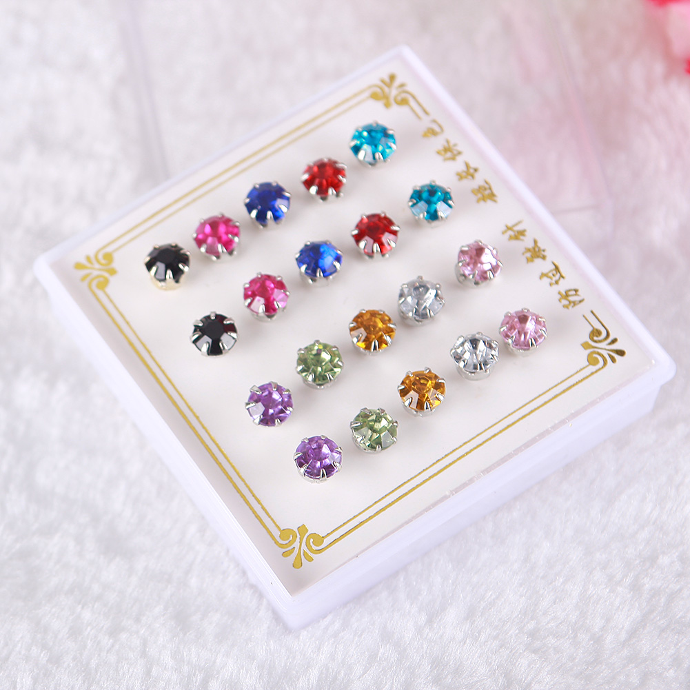 10 Pairs/Set 925 Silver Plated Ear Stud Colorful Crystal Rhinestone Earrings Charming Jewelry фото