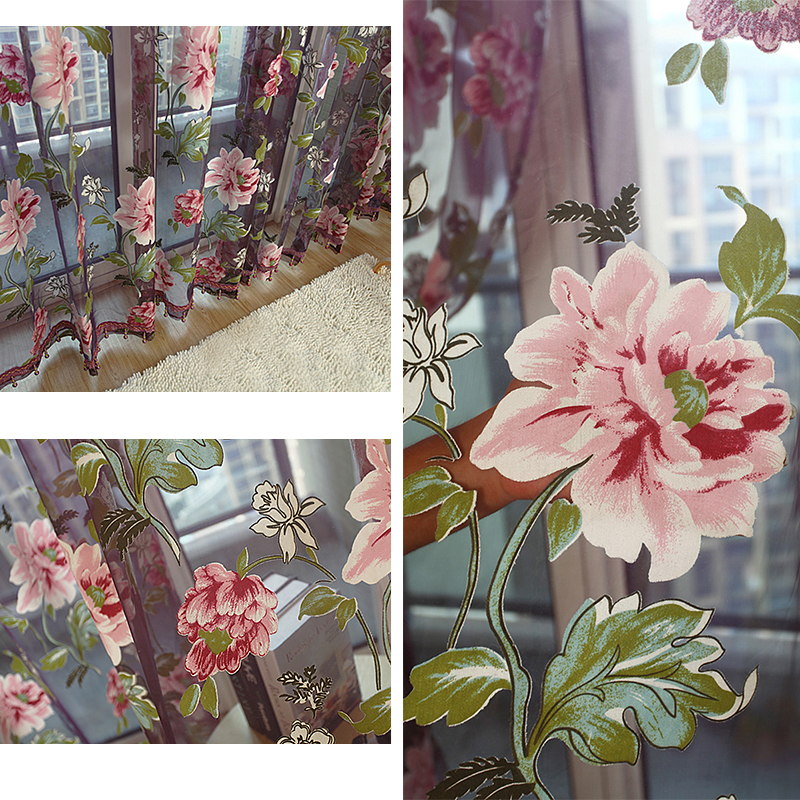 European Style Floral Peony Flower Pattern Tulle Curtain House Decor Door Panel Sheer Scarf Window Curtain