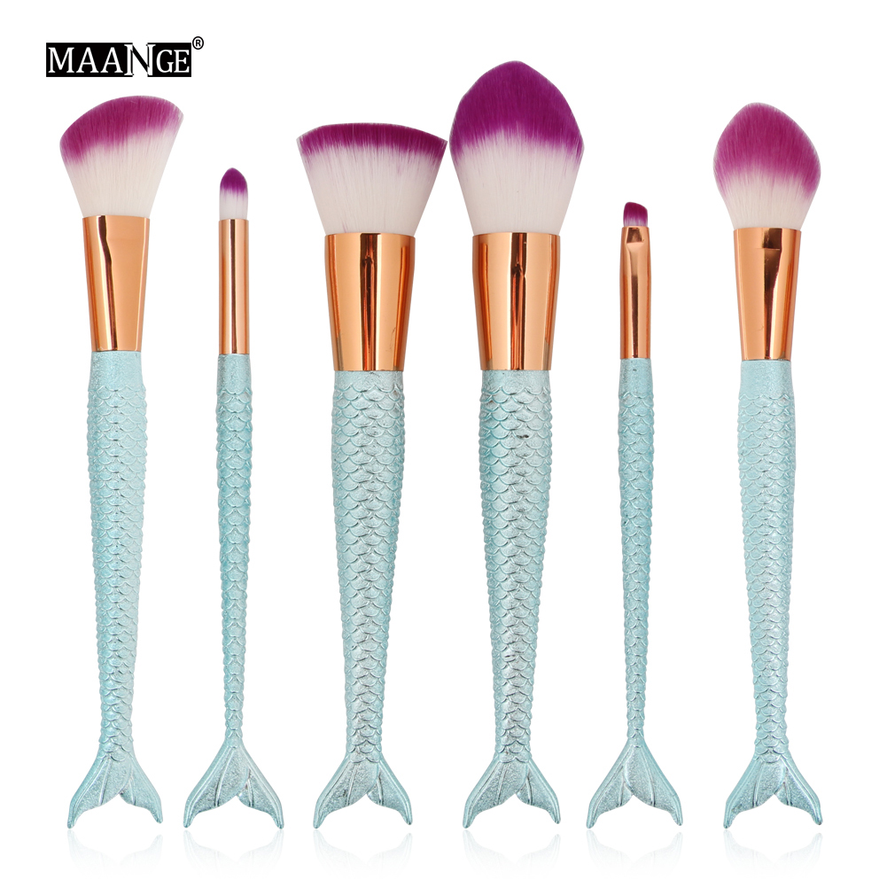 MAANGE 6Pcs Blending Powder Contour Concealer Blush Eyeshadow Eyebrow Face Eye Comestic Makeup Brushes Set Tool New