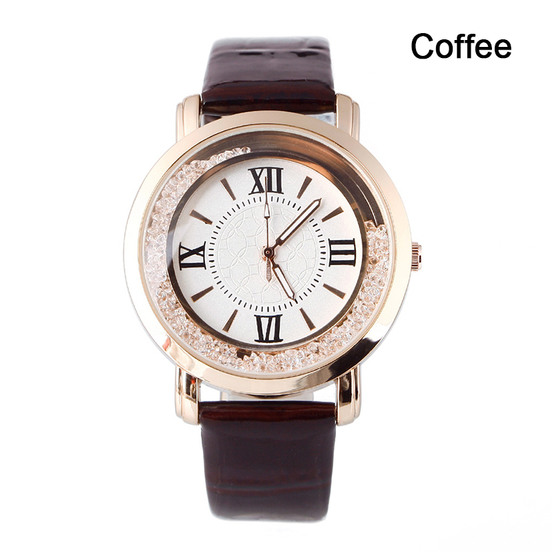 Fashion Luxury Women's Stainless Steel Flowing Crystal Dial Quartz Watch Analog PU Leather Wrist Watch фото