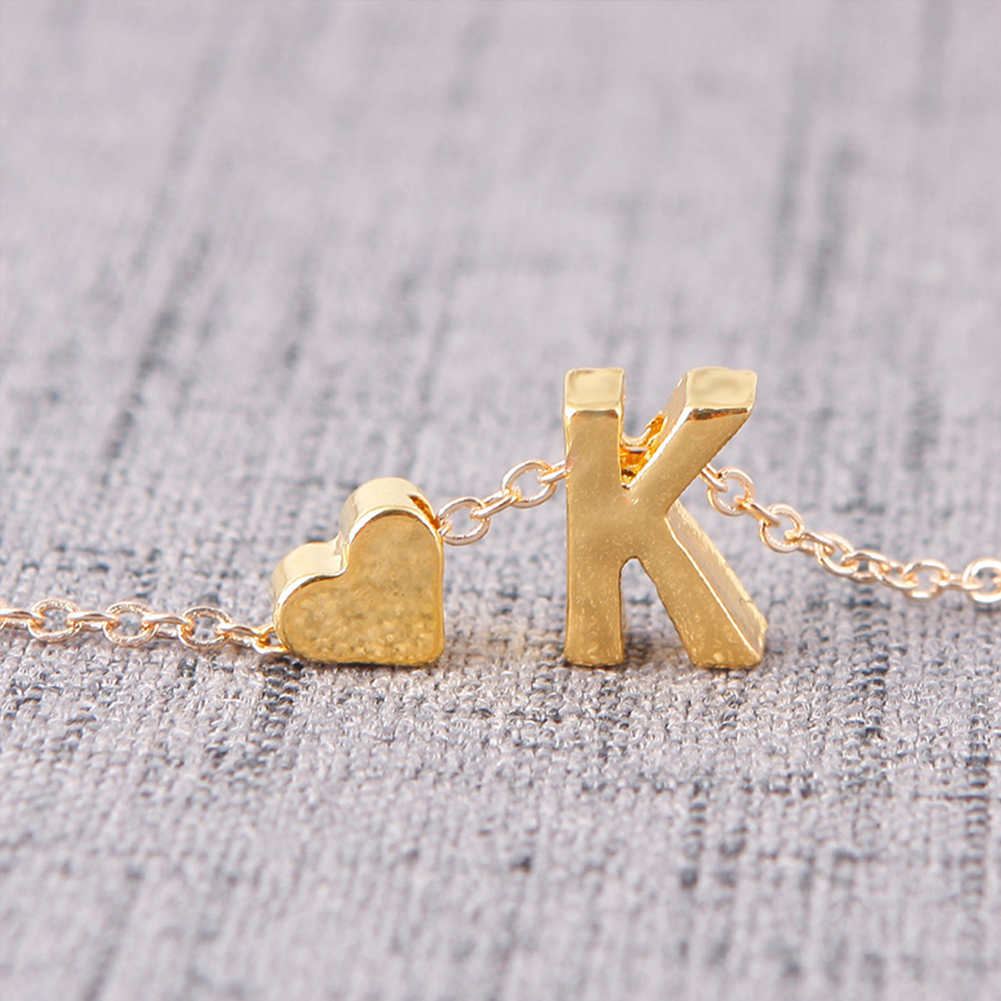 New Fasion A-Z 26 Letters with Love Heart Pendants Choker Necklaces for Lovers Gift фото