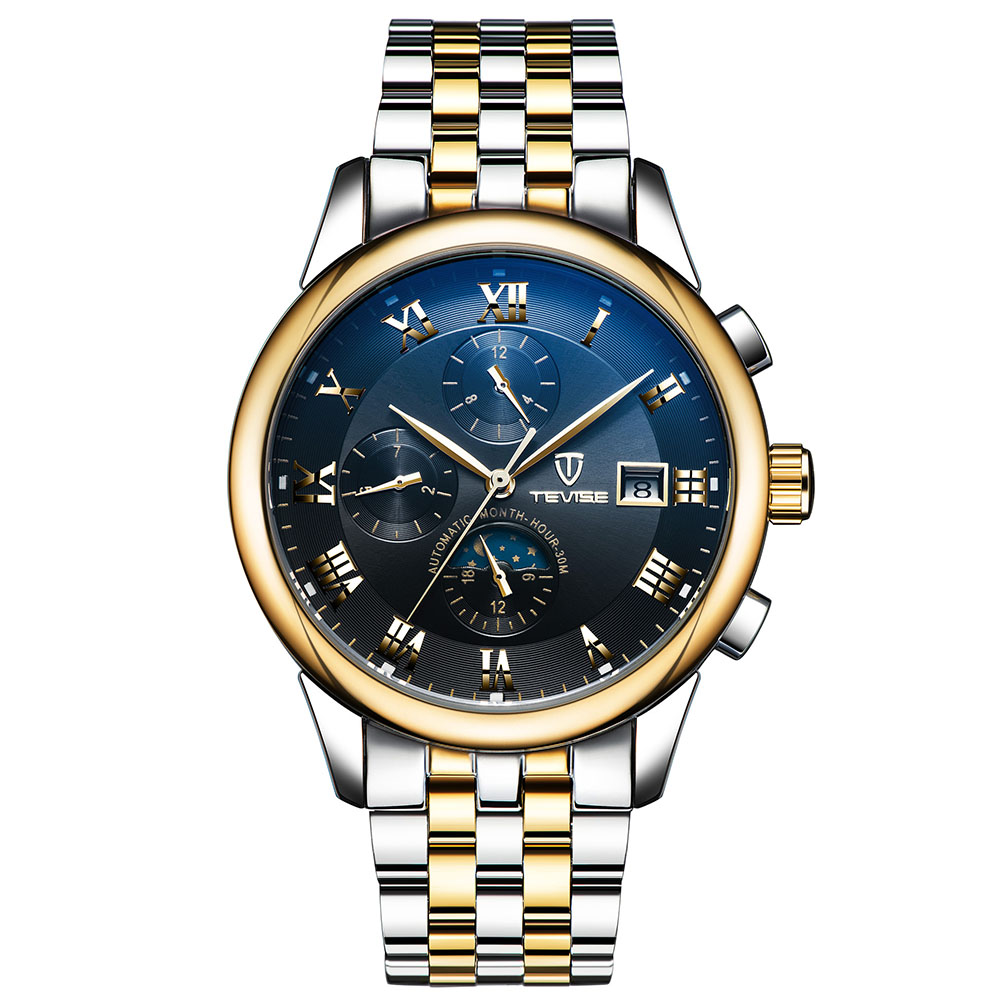 TEVISE Fashion Men's Luxury Brand Watch Stainless Steel Mechanical Automatic Business Wristwatches фото