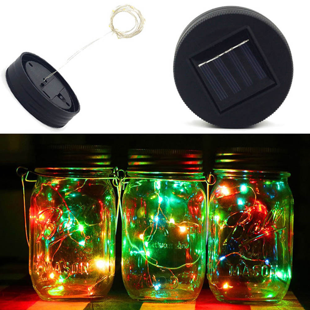 20 LED Fairy Light Solar Mason Jar Lid Lights Color Changing Garden Decor Lid Lights Only