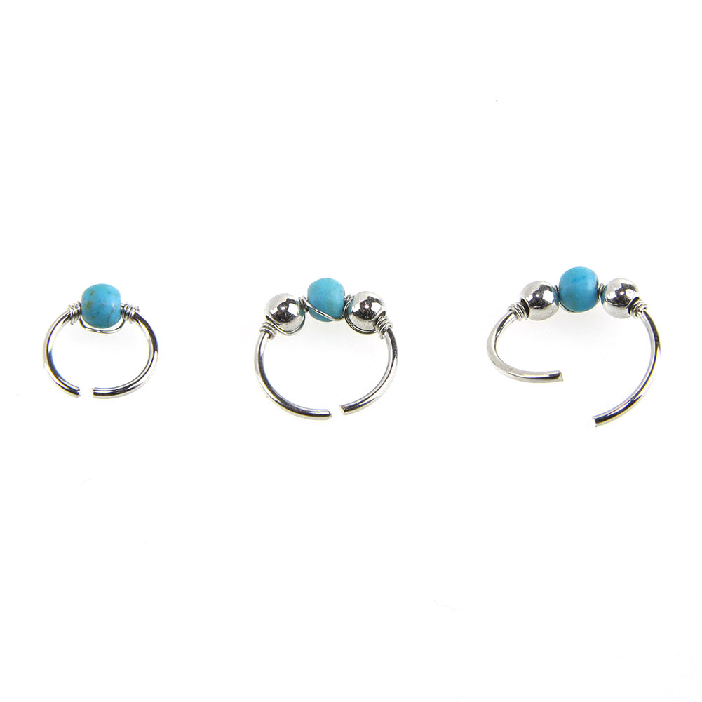 Retro Stainless Steel Crystal Blue Turquoise Round Beads Nose Ring Stud Earring Nostril Hoop Women Jewelry фото