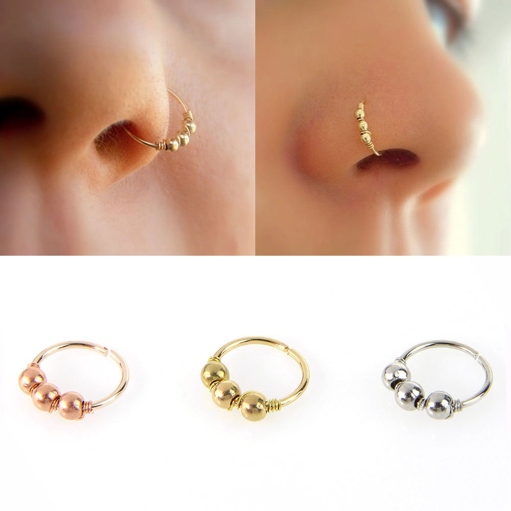 1 Pc Sexy Gold Silver Round Beads Nose Ring Stud Nose Hoop