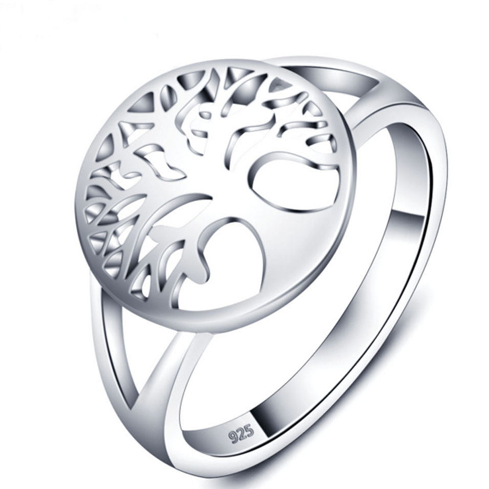 Women Unique Classic Tree of Life Silver Ring Fashion Hollow Lady Jewelry Gift Accessories фото