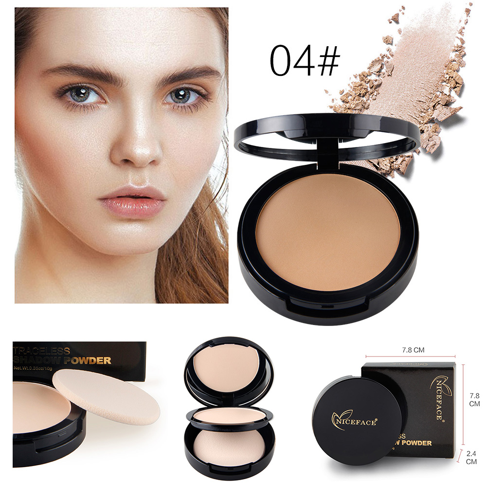 NICEFACE Smooth Dry Pressed Mineral Powder Concealer Contour Foundation Face Makeup Oil Control Brighten With Mirror Puff Set фото
