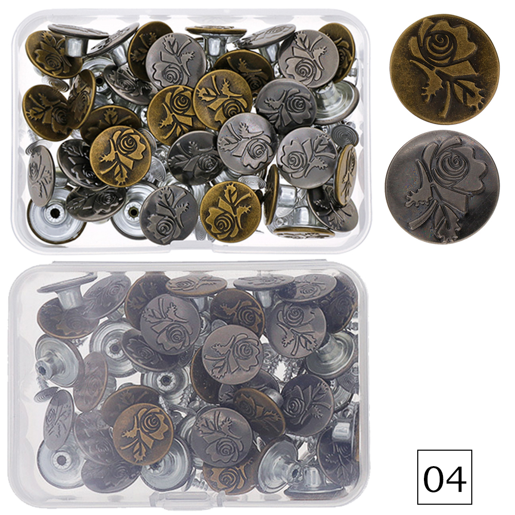 40 Sets Jeans Button Tack Buttons Metal Replacement Craft Working Kit фото