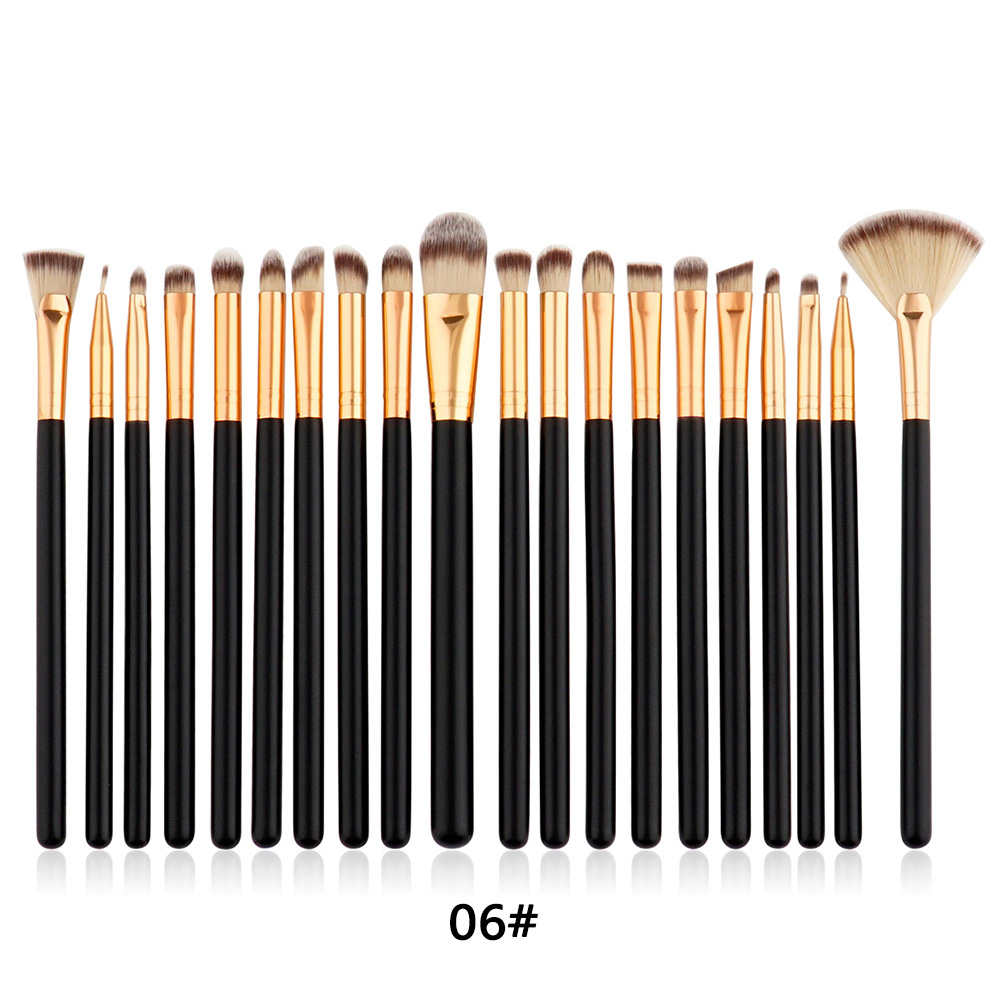 GUJHUI 20PCS Luxury Eyeshadow Blending Blush Eyeliner Lip Foundation Concealer Cosmetic Fan Nose Makeup Brushes Set Tool фото