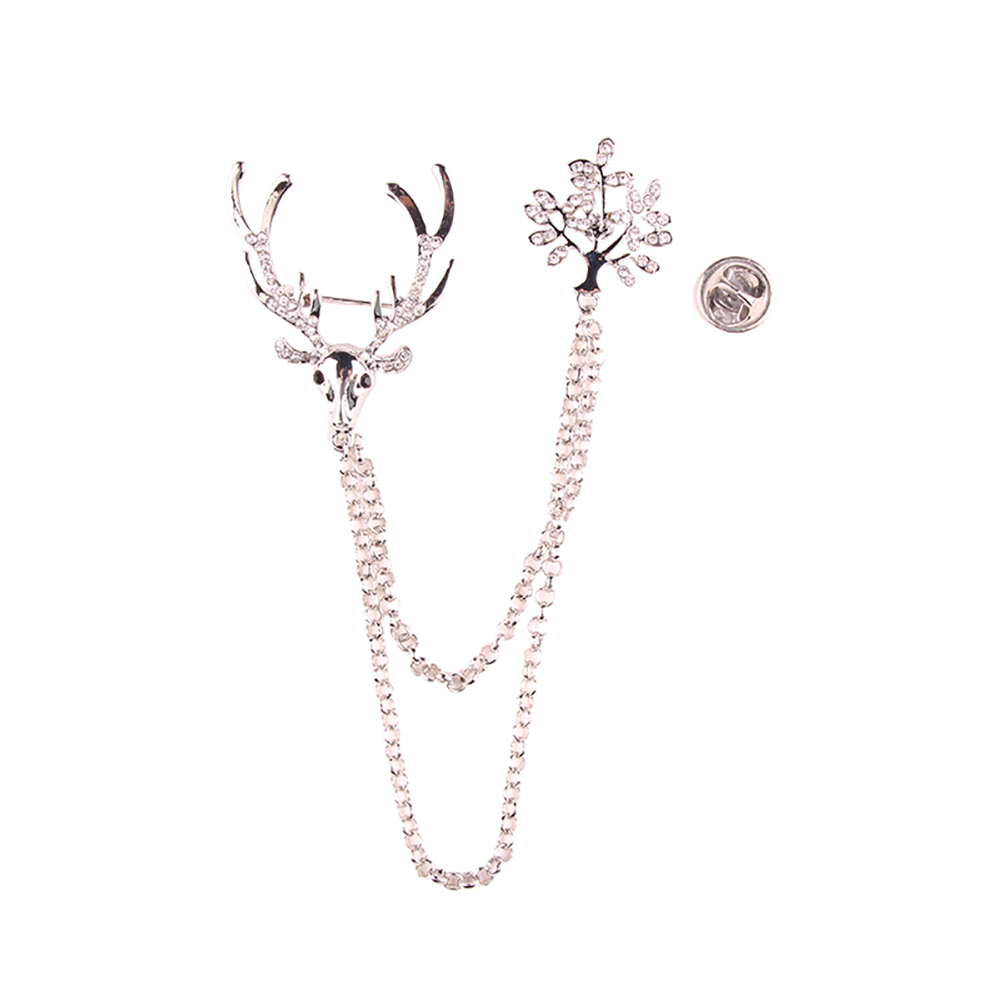 New Hot Sale Luxury Rhinestone Cape Deer Brooches Women Pins Up Gold Color Clip Animal Brooch Scarf Buckle Accessory