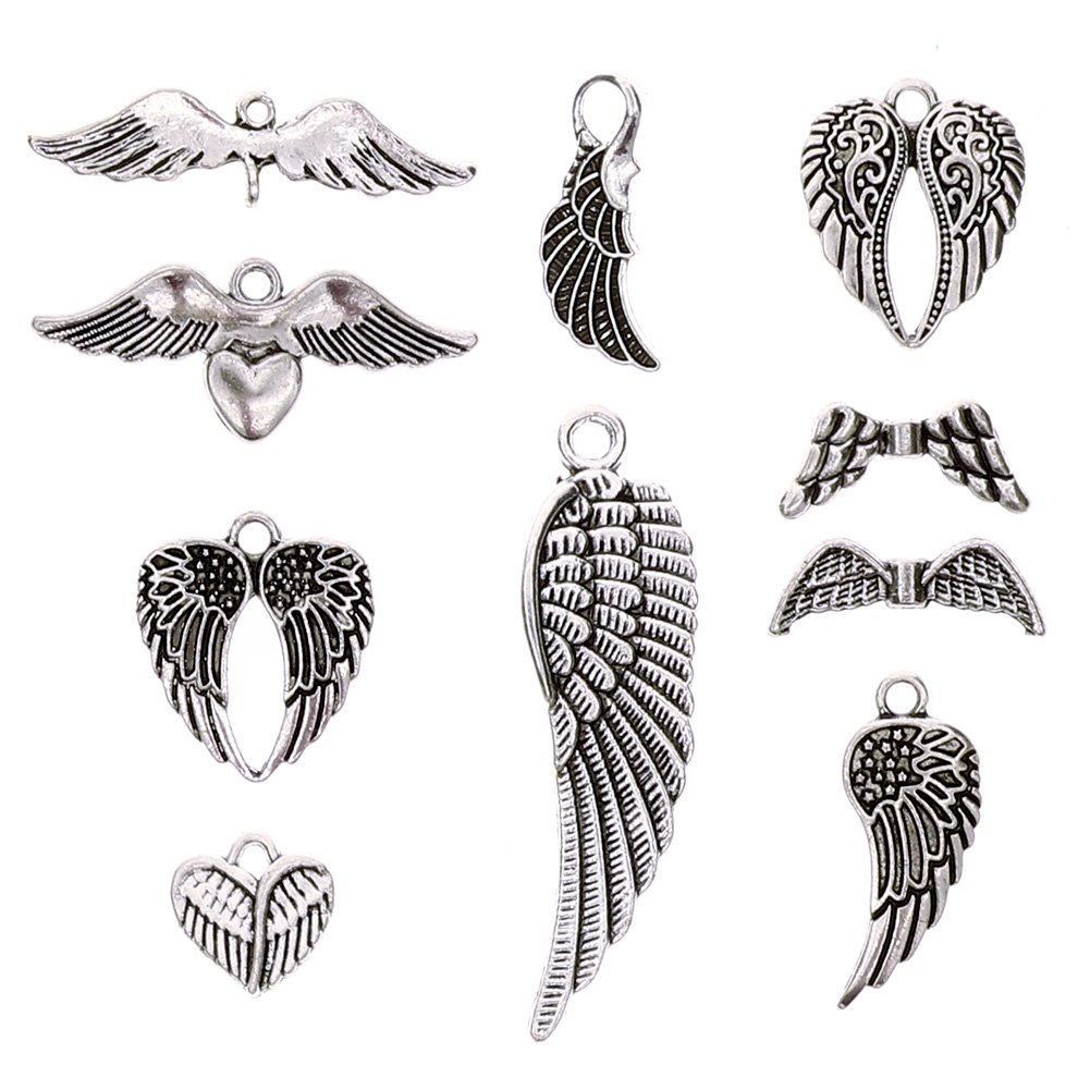 36 Pcs Vintage Silver Plated Assorted Angel Wings Theme Charms Pendants Set for DIY Necklace Jewelry Handmade Making Accessaries фото