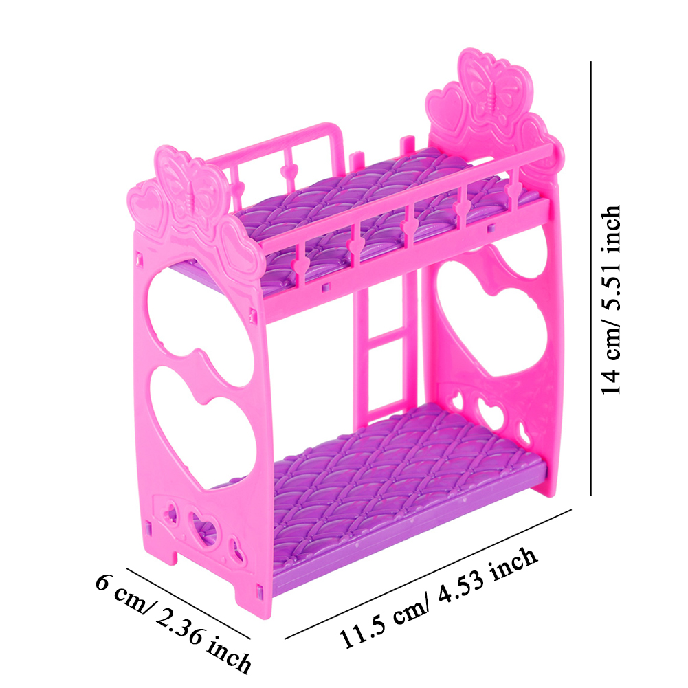 Fashion Plastic Purple Pink Double Bed Frame For Kelly Barbie Doll Bedroom Furniture Accessories фото