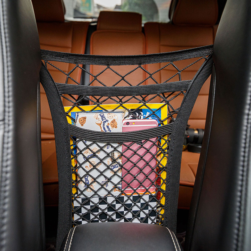 3-Layer Car Mesh Organizer Seat Back Net Bag Barrier Backseat Cargo Tissue Purse Holder Driver Storage Netting Pouch