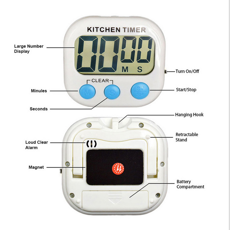 LCD Digital Kitchen Timer Magnetic Count-Down Up Clock Loud Alarm
