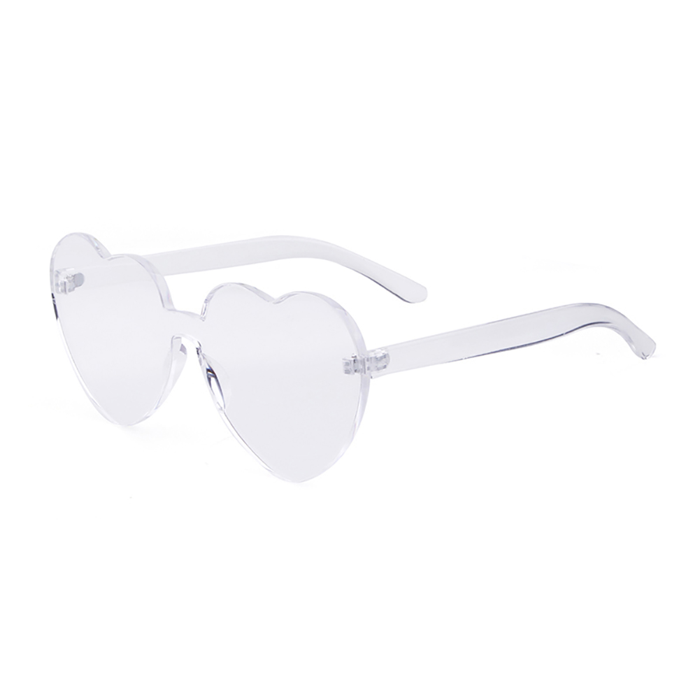 Love Heart Shape Sunglasses Women Rimless Frame Tint Clear Lens Colorful Sun Glasses Red Pink Yellow Shades