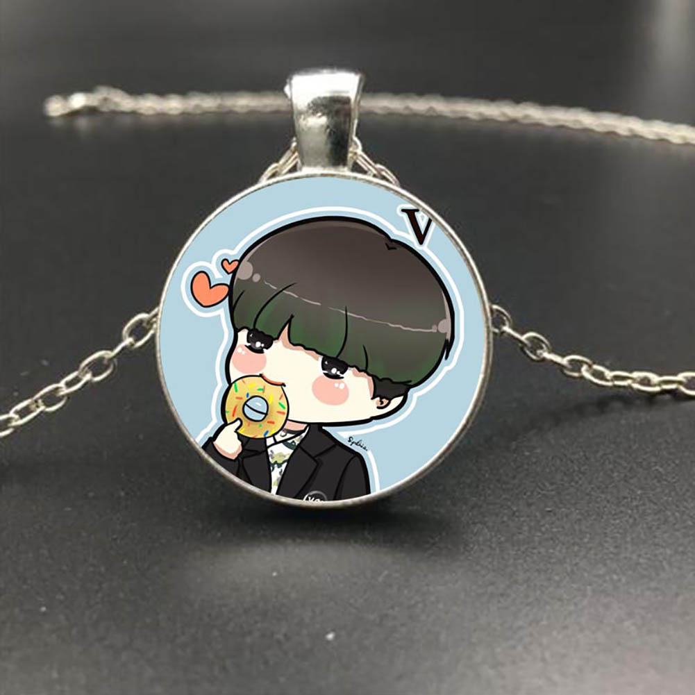 Fashion Kpop BTS Bangtan Boys Cartoon Q Version Handmade Glass Pendant Silver Necklace Fans Jewelry Gift фото