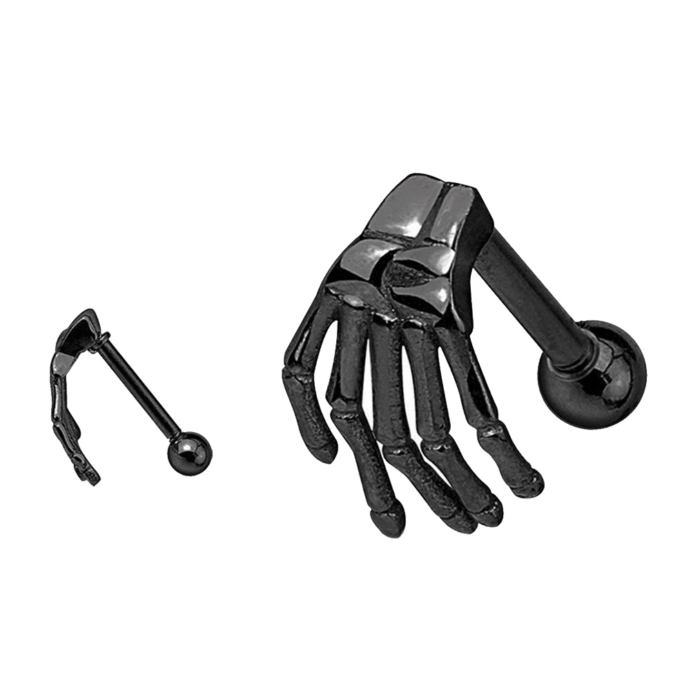 1 PC Gothic Punk Stainless Steel Skeleton Hand Barbell Ear Cartilage Helix Ear Stud Bar Earring Piercing Jewelry фото
