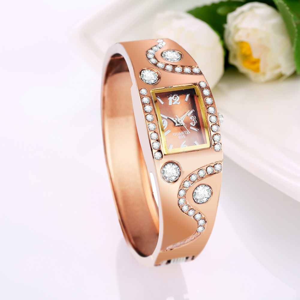 Women's Square Rhinestone Crystal Diamante Bracelet Bangle Wrist Watch