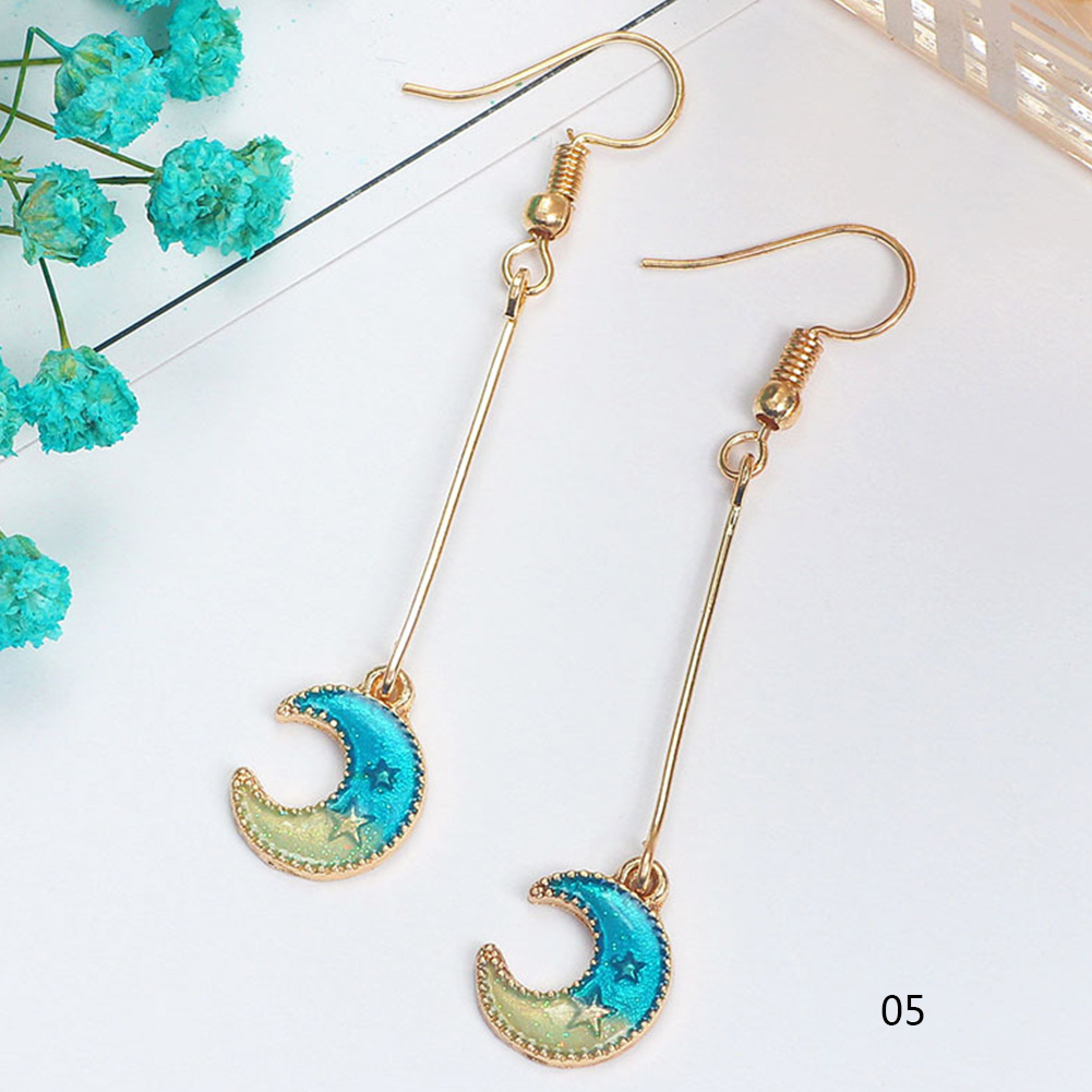 2018 New Japan Style Jewelry Blue Star Moon Long Drop Earrings For Women Asymmetric Round Planet Earrings фото