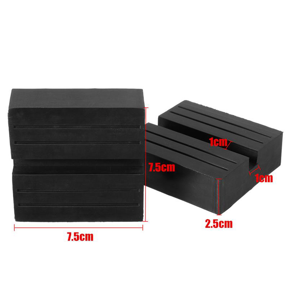 Black 2Pcs Universal Car Slotted Frame Rail Floor Jack Guard Adapter Lift Rubber Pads Hot Sale фото