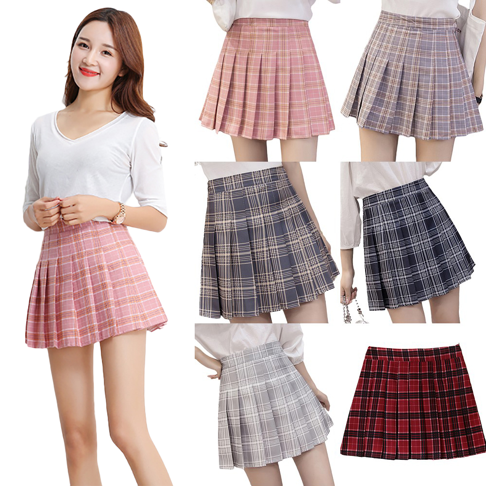 Womens Mini Skirts Classic High-waist College Students Style Grid Skirt Bodycon for Girls фото