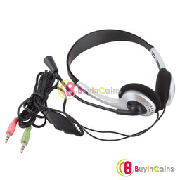 Earphone Headphone w/ Microphone MIC VOIP Headset Skype for PC Computer Laptop